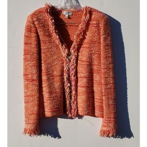 ST. JOHN SPORT by Marie Gray orange fringe jacket